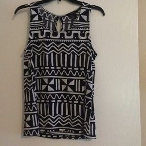 Black and White Print Tank Top